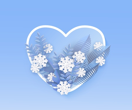 Vector illustration of winter natural banner with blue plant leaves and white snowflakes in frame in form of heart on gradient background in paper art - romantic seasonal layout. Banque d'images - 128169341