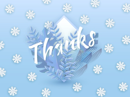 Vector illustration of Thanks text winter natural design with white word surrounded by tree leaves in drop shape on gradient blue background with falling snowflakes in paper art style.
