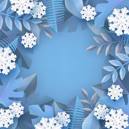 Vector winter background template with abstract fresh blue leaves and snowflakes with text space. New year, christmas holidays wallpaper, layout with seasonal florals and icy snow.