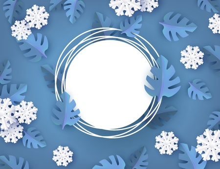 Vector winter background template with abstract fresh blue leaves and snowflakes with grunge circle frame text space. New year, christmas holidays wallpaper, layout with seasonal florals and icy snow Illusztráció