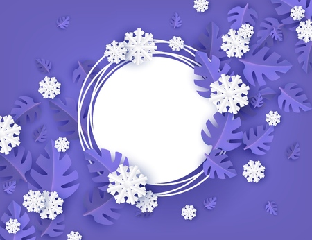 Vector illustration of winter natural banner with blank grunge round shape on background with blue tree leaves and white snowflakes in paper art - seasonal layout with empty space for text. Illustration