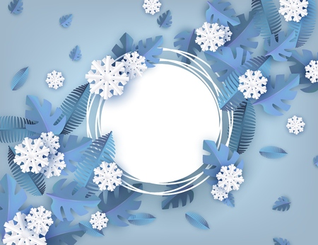 Vector illustration of winter natural banner - decorative background with blue tree leaves and white snowflakes around blank grunge round shape for seasonal design in paper art. Illustration