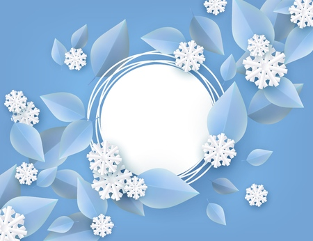 Vector illustration of winter natural banner for seasonal design in paper art. Decorative background with blue tree leaves and white snowflakes around blank grunge round shape.