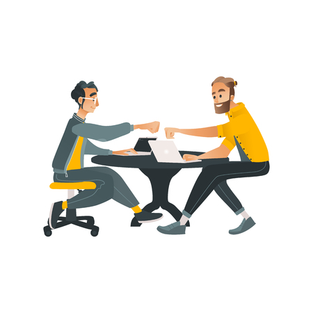 Coworking communication vector illustration with two men working with laptops and conversing in cartoon style isolated on white background. Male characters in convenient workplace.