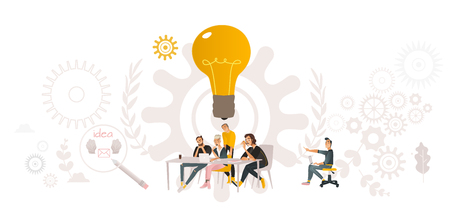 Vector coworking, teambuilding and business communication concept with colleagues, male female office workers, men and woman sitting at table looking at laptop discussing with gears, light bulb around