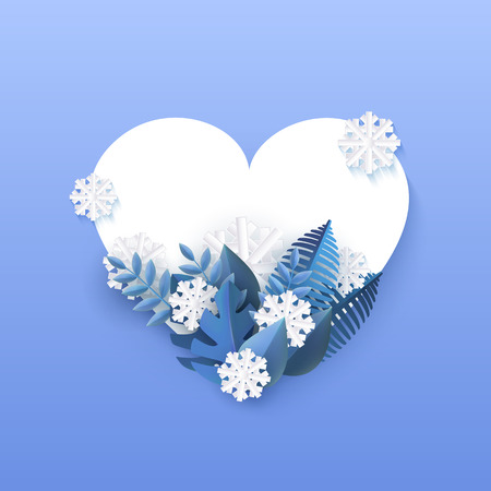 Vector illustration of winter natural banner with blue plant leaves and falling white snowflakes in paper art around heart shape with empty space for text on gradient background.