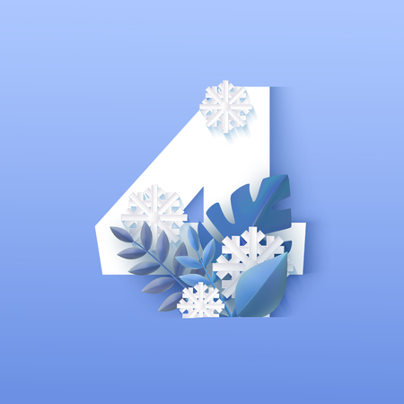 Vector illustration of number four winter natural design. White numeral 4 surrounded by blue tree leaves and falling snowflakes in paper art style isolated on gradient background.