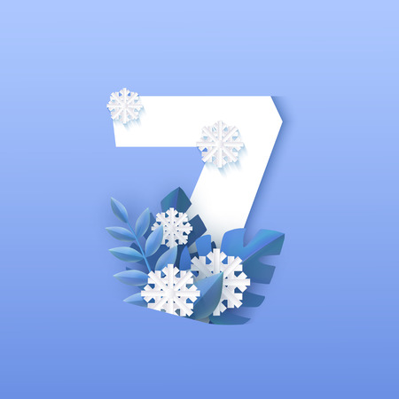 Vector illustration of numeral 7 natural winter design in paper art isolated on gradient background - decorative element of white number seven surrounded by blue plant leaves and falling snowflakes.