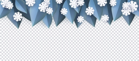 Vector winter background template with abstract fresh blue leaves at top and snowflakes with transparent text space. New year, christmas holidays wallpaper, layout with seasonal florals and icy snow.