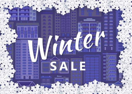 Vector winter sale poster on urban cityscape background with blue buildings in snow frozen frame. Christmas, new year holiday poster background template for advertising design.