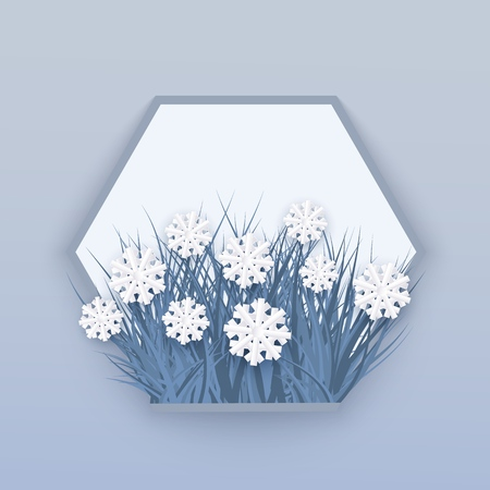 Vector illustration of winter natural banner with white snowflakes lying on blue grass in front of blank hexagon shape with space for text - floral decorative element for seasonal design.