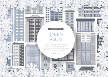 Vector illustration of winter city banner with background from downtown multistorey houses with white snowflakes frame in paper art style and round label with copy space.