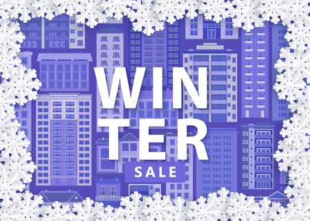 Vector illustration of winter sale banner with blue background with city multistorey houses with white snowflakes frame in paper art style - seasonal special offer design with downtown elements. Çizim