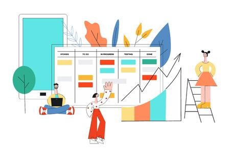 Ilustración de vector de técnica de planificación de scrum de trabajo en equipo en el desarrollo de software con personas desproporcionadas que marcan tareas y analizan resultados en estilo plano de tendencia aislado sobre fondo blanco.