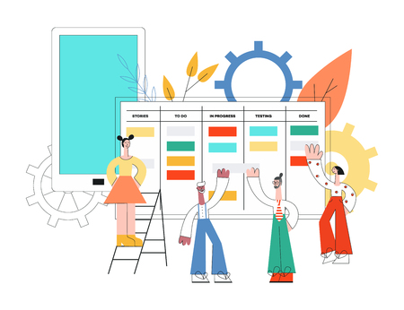Vector illustration of scrum planning technique of teamwork concept with little people discussing tasks and results standing near huge agile board in trend flat style isolated on white background.