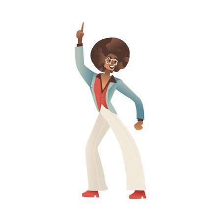 Vector illustration of man dancing disco isolated on white background - young african male cartoon character in retro clothes and with hairstyle of 70s style makes funky dance moves.