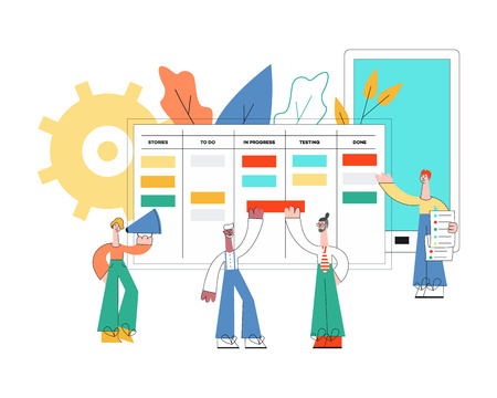 Vector illustration of scrum planning technique of teamwork concept in trend flat style isolated on white background. Little people discussing tasks and results standing near huge agile board.