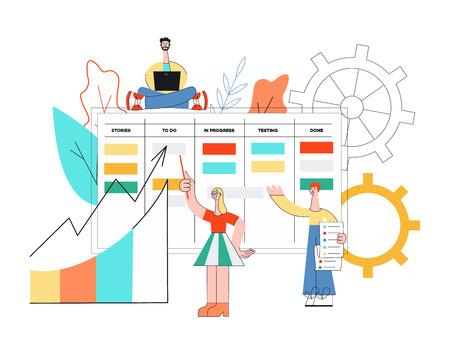 Illustration vectorielle de la technique de planification scrum du travail d'équipe sur le développement de logiciels avec des personnes disproportionnées travaillant avec un ordinateur portable et discutant des tâches et des résultats dans un style plat.