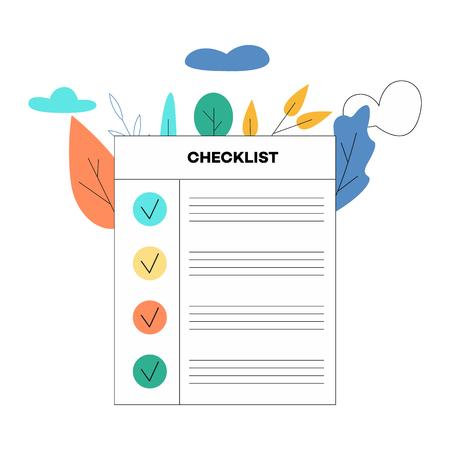 Illustration vectorielle de la liste de contrôle avec des tâches enregistrées ou des éléments avec une coche dans un style plat isolé sur fond blanc avec des feuilles décoratives et des nuages - concept de planification ou de questionnaire.