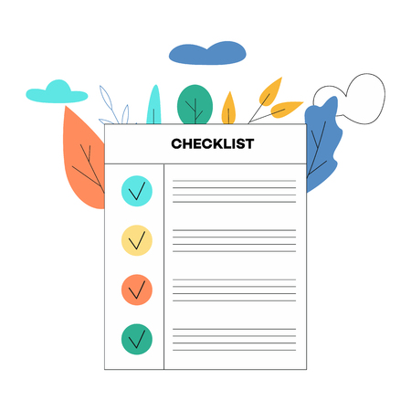 Vector illustration of checklist with recorded tasks or items with checkmark in flat style isolated on white background with decorative leaves and clouds - planning or questionnaire concept.