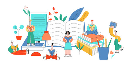 Vector stylized education concept people, objects set. Flat women, men standing, sitting legs crossed, lying reading book with pleasure and smile at face near books, pencils and florals. Archivio Fotografico - 128169419