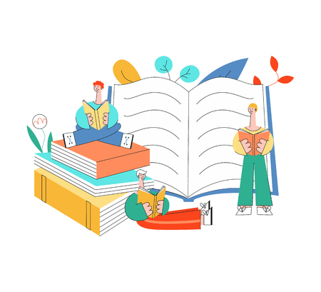 Vector stylized flat men in blue shirt standing, sitting legs crossed, lying reading book with pleasure and smile at face. Male character student holding symbol of education and knowledge