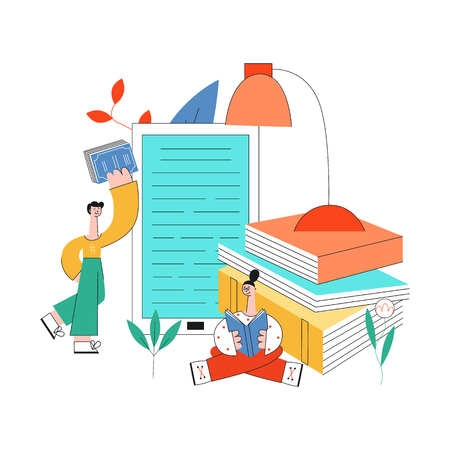 Education vector illustration with young students reading books surrounded by big school supplies isolated on white background - studying male and female characters in flat style. Stock Illustratie