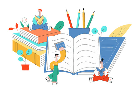 Education vector illustration with little people reading surrounded by big office supplies and books isolated on white background - studying male and female characters in flat style.