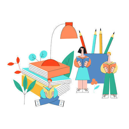Education and reading vector illustration with little people studying surrounded by big office supplies and books isolated on white background - learning male and female characters in flat style. Stock Illustratie