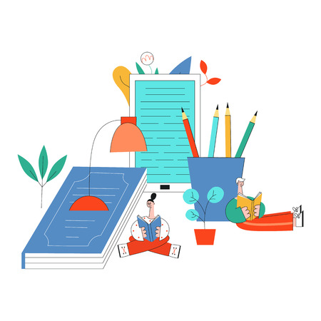 Vector illustration of education and reading concept with little young people studying surrounded by big school supplies and books isolated on white background in flat style.