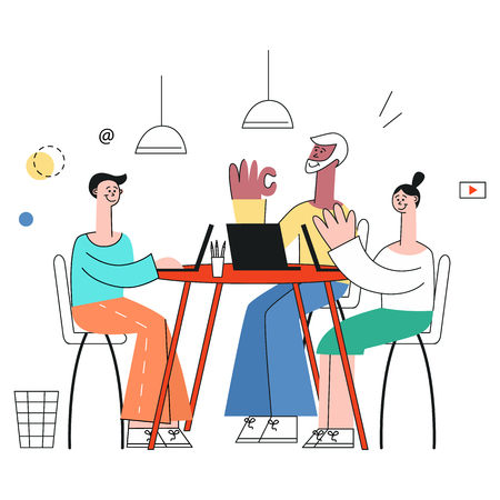Vector illustration of business meeting concept in trendy flat style with people chatting and discussing tasks at table with laptops and documents isolated on white background.