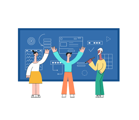 Vector illustration of business development and data analysis with team of people standing with layouts and drawing information behind and discussing them in flat style isolated on white background. Illustration
