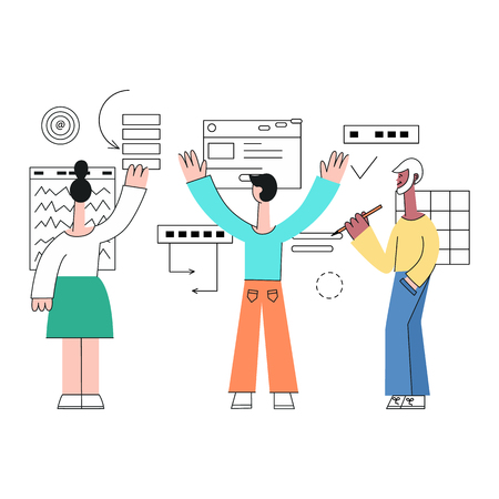 Vector illustration of business development with team standing with their back before layouts and drawing analytics data and discussing them in flat style isolated on white background. Illustration