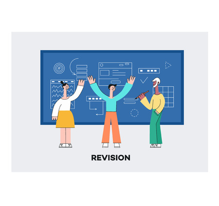 Vector mobile application development revision teamwork concept poster with stylized young women and man making app design creating interface for smartphone, tablet or laptop devices window background Illustration