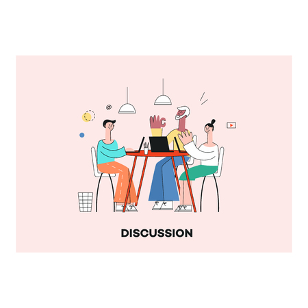 Vector teambuilding concept with stylized business people, women and men sitting at table having conversation, discussion gesticulating. Male, female characters at workplace.
