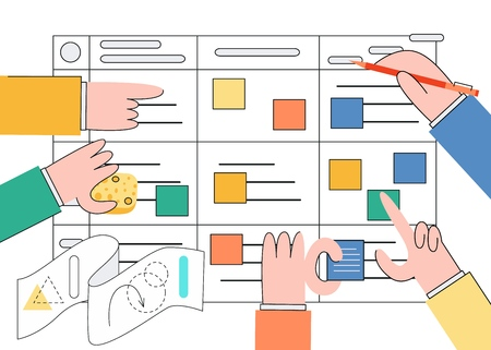 Scrum task board vector illustration with flat isolated human hands holding colorful sticky papers and markers in front of board for agile teamwork of software development.