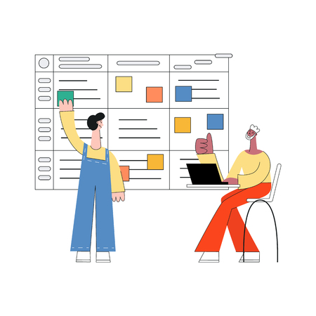 Scrum planning vector illustration - modern planning technique of teamwork on software development with flat isolated male characters working with laptop and sticking colorful paper on agile board. Ilustracja