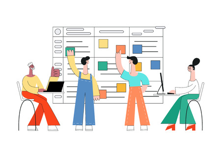 Vector illustration of scrum planning technique of teamwork on software development with flat isolated male and female characters working with laptop and sticking colorful paper on agile board. Vector Illustratie