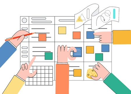 Vector illustration of scrum planning technique of teamwork on software development in trendy flat style. Human hands in front of agile board marking tasks isolated on white background.