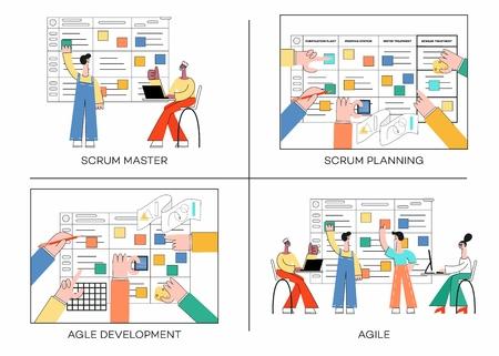 Vektorillustrationssatz der Scrum-Planungstechnik der Teamarbeit auf Softwareentwicklungsfahnen mit verschiedenen Szenen der agilen Teamarbeit im trendigen flachen Stil einzeln auf weißem Hintergrund.