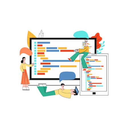 Vector illustration of application development - team of it specialists working on software in front of large screens with programming code in flat style isolated on white background.