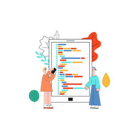 Application development vector illustration with it specialists working on programming software standing in front of big screen of mobile device in trendy flat style isolated on white background. Illusztráció