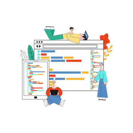 Application development vector illustration with group of it specialists working on creating software in front of big screens of computer devices in trendy flat style isolated on white background.