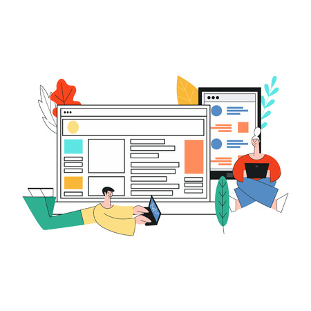 Vector illustration of social network communication in trendy flat style. Isolated man and woman chatting in their laptops surrounded by big digital screens with online correspondence.