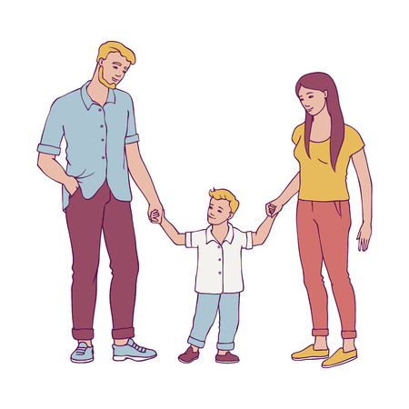 Happy family vector illustration with young couple holding their child boy hands doing first steps in sketch style isolated on white background - hand drawn mother and father with their kid son.