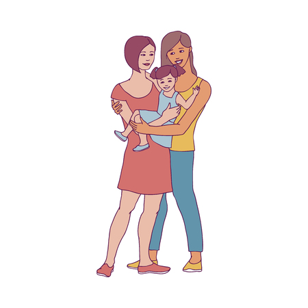 Gay family vector illustration with two happy women and their little daughter embracing in sketch style isolated on white background. Hand drawn smiling lesbian mothers with kid girl. Vettoriali