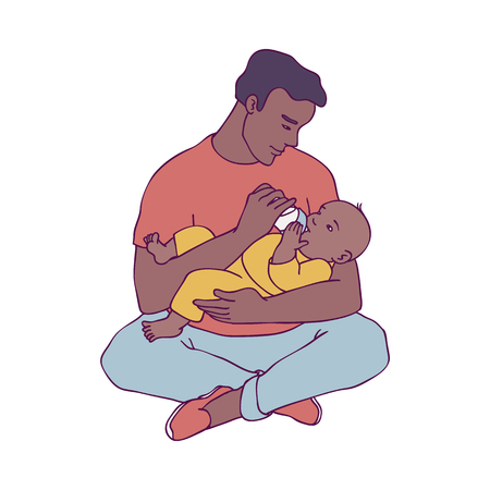 Vector illustration of young african father holding his child in arms and feeding him isolated on white background - smiling man and his little newborn baby in sketch style for happy family concept.