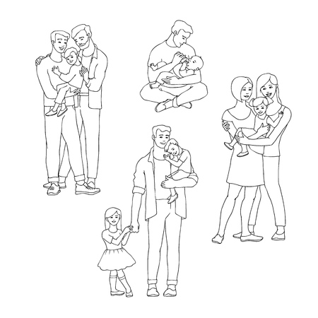 Gay family vector illustration set with happy men and women with their kids in line sketch style isolated on white background - hand drawn smiling homosexual people embracing their children with love. Illustration