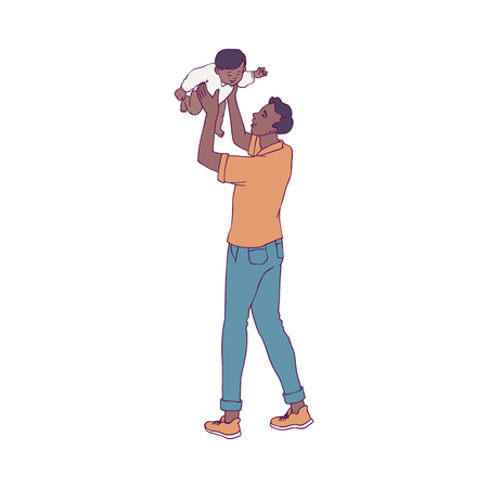 Vector illustration of young father playing with his little child isolated on white background - smiling african dad toss up his joyful baby boy in sketch style for happy family concept. Illustration