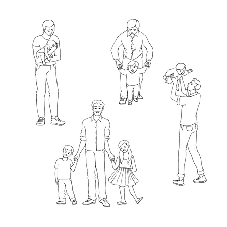 Vector illustration set of fathers with their children isolated on white background in sketch line style. Hand drawn young dad holding and playing with his kids for happy family concept. Illustration